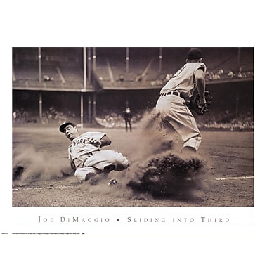 Evive Designs Joe DiMaggio Sliding into Third Photography by Bettmann-Corbis Photographic Print