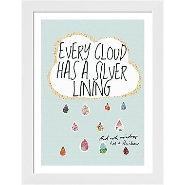 Evive Designs Every Cloud Has a Silver Lining by Stephanie Bertenshaw Framed Graphic Art