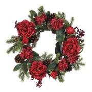 House of Silk Flowers Artificial Peony / Hydrangea / Berry / Pine Wreath