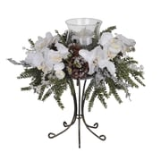 House of Silk Flowers Artificial Iced Phalaenopsis Orchid / Pine Single Candle Holder