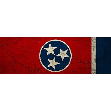 iCanvas Flags Tennessee Map Panoramic Graphic Art on Wrapped Canvas; 12'' H x 36'' W x 1.5'' D