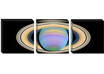 iCanvas Saturn's Rings in Ultraviolet Light Graphic Art on Wrapped Canvas; 24'' H x 72'' W x 1.5'' D