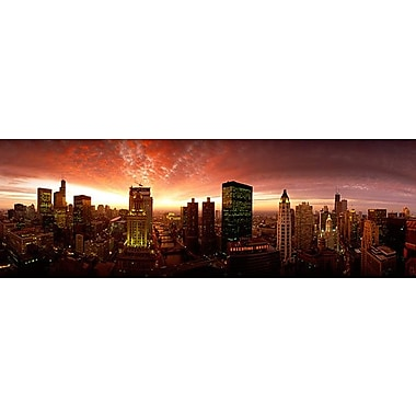 iCanvas Panoramic Sunset Cityscape Chicago, Illinois Photographic Print on Wrapped Canvas