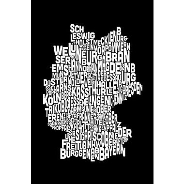 iCanvas 'Text Map of Germany' by Michael Tompsett Graphic Art on Wrapped Canvas