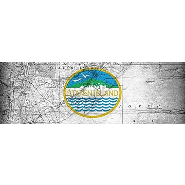 iCanvas Flags Staten Island Map Panoramic Graphic Art on Wrapped Canvas; 12'' H x 36'' W x 0.75'' D