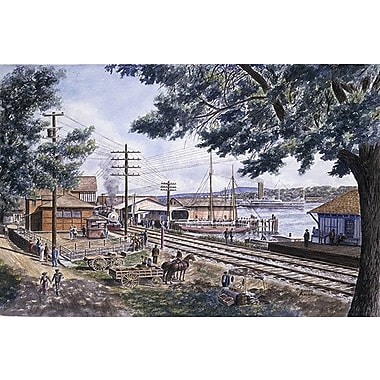 iCanvas ''Steam Along Hudson'' by Stanton Manolakas Painting Print on Wrapped Canvas