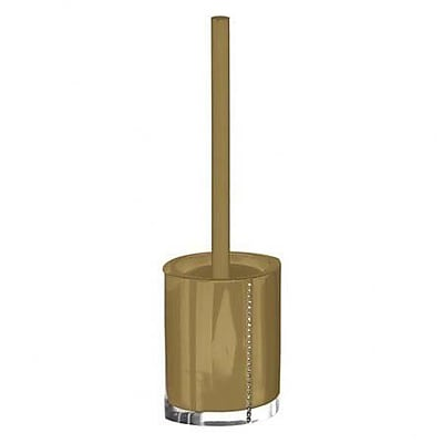 Gedy by Nameeks Diamonds Free Standing Toilet Brush and Holder; Gold