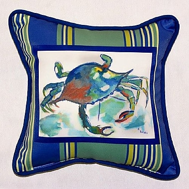Betsy Drake Interiors Coastal Stripe Crab Indoor/Outdoor Throw Pillow