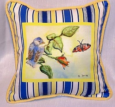 Betsy Drake Interiors Garden Baby Bird Indoor/Outdoor Throw Pillow