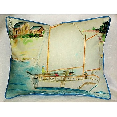 Betsy Drake Interiors Coastal Two Masted Boat Indoor/Outdoor Lumbar Pillow