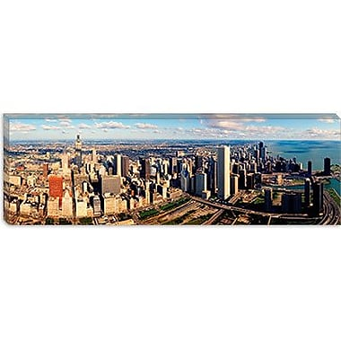 iCanvas Panoramic Aerial Chicago IL Photographic Print on Canvas; 12'' H x 36'' W x 1.5'' D