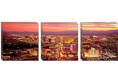 iCanvas Panoramic Aerial Las Vegas NV Photographic Print on Canvas; 12'' H x 36'' W x 0.75'' D