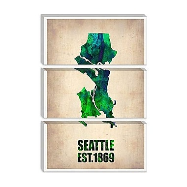 iCanvas ''Seattle Watercolor Map'' Canvas Wall Art by Naxart; 26'' H x 18'' W x 0.75'' D