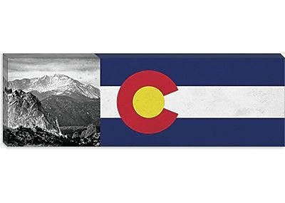 iCanvas Colorago Flag, Pikes Peak Panoramic Graphic Art on Canvas; 12'' H x 36'' W x 1.5'' D