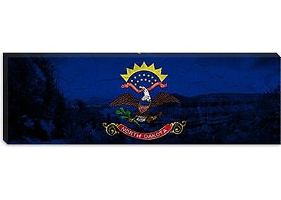 iCanvas North Dakota Flag, Grunge Panoramic Graphic Art on Canvas; 12'' H x 36'' W x 0.75'' D