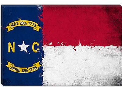 iCanvas North Carolina Flag, Grunge Painted Graphic Art on Canvas; 26'' H x 40'' W x 0.75'' D