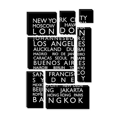 iCanvas 'World Cities Bus Roll' by Michael Tompsett Textual Art on Canvas; 18'' H x 12'' W x 1.5'' D