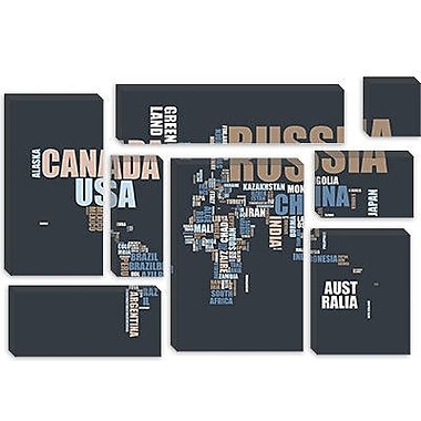 iCanvas 'World Map in Words' by Michael Tompsett Textual Art on Canvas; 18'' H x 26'' W x 0.75'' D
