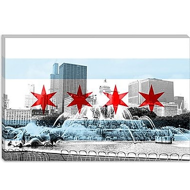 iCanvas Chicago Flag, Buckingham Fountain Graphic Art on Canvas; 18'' H x 26'' W x 0.75'' D