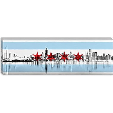 iCanvas Chicago Flag, City Skyline Panoramic Graphic Art on Canvas; 12'' H x 36'' W x 0.75'' D