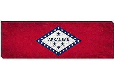 iCanvas Arkansas Flag, Grunge Panoramic Graphic Art on Canvas; 12'' H x 36'' W x 1.5'' D