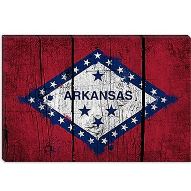iCanvas Arkansas Flag, Grunge Boards Painted Graphic Art on Canvas; 40'' H x 60'' W x 1.5'' D