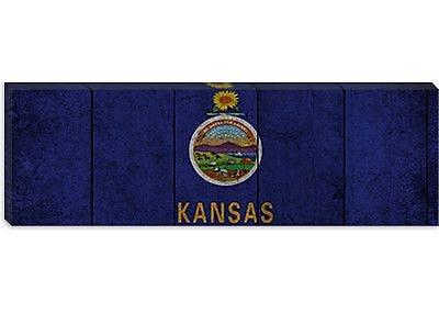 iCanvas Kansas Flag, Wood Planks Panoramic Graphic Art on Canvas; 16'' H x 48'' W x 0.75'' D