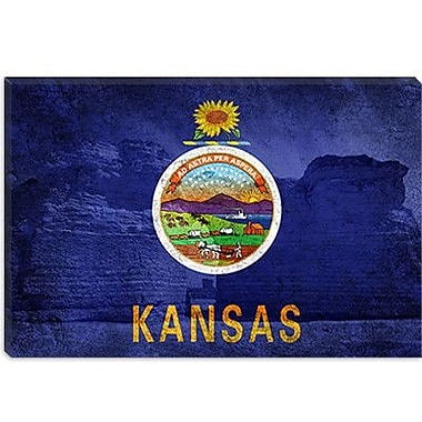 iCanvas Kansas Flag, Chalk Pyramids Graphic Art on Canvas; 12'' H x 18'' W x 0.75'' D