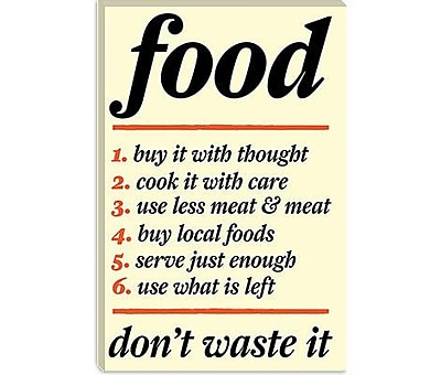 iCanvas Kitchen Don't Waste Food Textual Art on Canvas; 40'' H x 26'' W x 1.5'' D