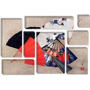 iCanvas 'Five Fans' by Katsushika Hokusai Graphic Art on Canvas; 12'' H x 18'' W x 0.75'' D