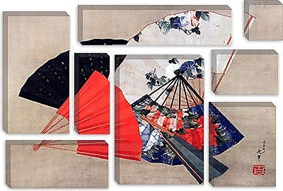 iCanvas 'Five Fans' by Katsushika Hokusai Graphic Art on Canvas; 12'' H x 18'' W x 0.75'' D