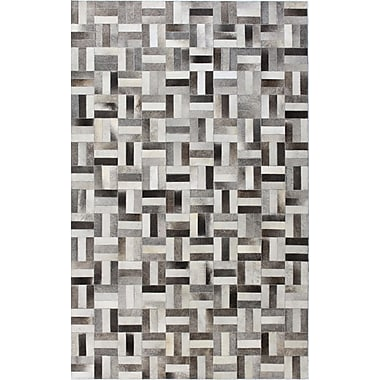 Bashian Rugs Tuscon Leather Geometric Grey Area Rug; Rectangle 5' x 8'