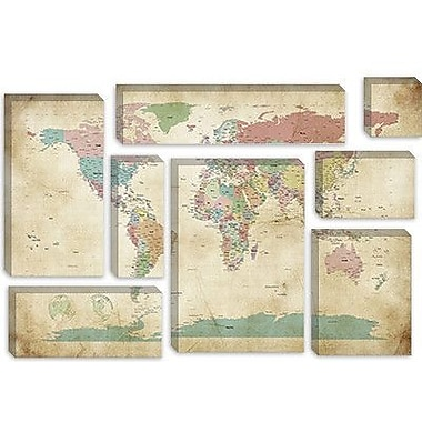 iCanvas 'World Cities Map' by Michael Tompsett Graphic Art on Canvas; 18'' H x 26'' W x 0.75'' D