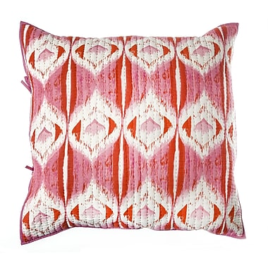 Rhadi Living Medallion Cotton Pillow Euro Sham; Pink / Orange