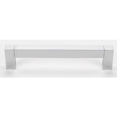 Alno Square Top 6'' Center Bar Pull; Polished Chrome