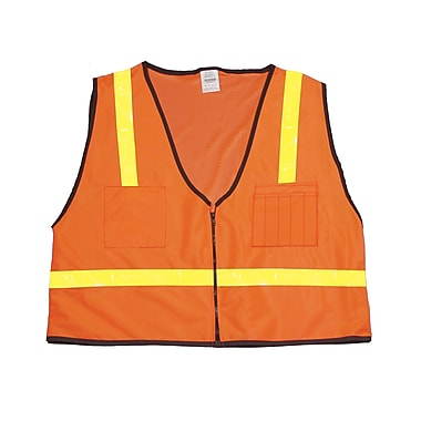 Mutual Industries MiViz Orange ANSI Class 1 High Visibility Mesh Back Surveyor Vests