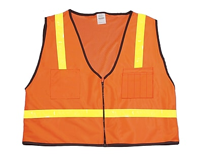 Mutual Industries MiViz ANSI Class 1 High Visibility Mesh Back Surveyor Vest, Orange, Large
