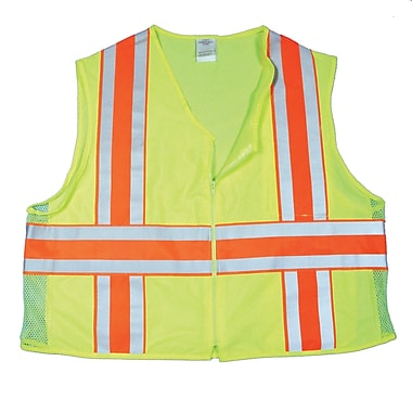 Mutual Industries MiViz ANSI Class 2 High Visibility Deluxe Dot Safety Vest With Pockets, Lime, XL