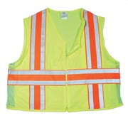 Mutual Industries MiViz ANSI Class 2 High Visibility Deluxe Dot Safety Vest With Pockets, Lime, Large
