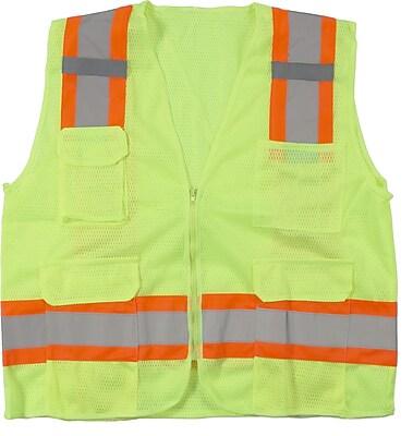 Mutual Industries MiViz ANSI Class 2 High Visibility Mesh Surveyor Vest, Lime, Medium