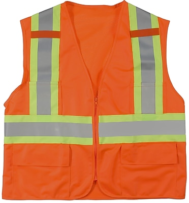 Mutual Industries MiViz ANSI Class 2 High Visibility Surveyor Vest With Pockets, Orange, Medium
