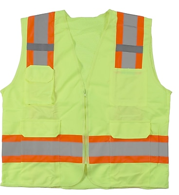 Mutual Industries MiViz ANSI Class 2 High Visibility Surveyor Vest With Pockets, Lime, Medium