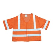 Mutual Industries MiViz ANSI Class 3 Mesh Safety Vest With Silver Reflective, Orange, XL