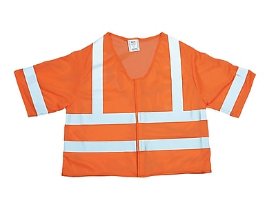 Mutual Industries MiViz ANSI Class 3 Mesh Safety Vest With Silver Reflective, Orange, 4XL