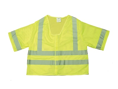 Mutual Industries MiViz ANSI Class 3 Mesh Safety Vest With Silver Reflective, Lime, 3XL