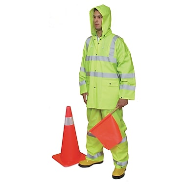Mutual Industries ANSI Class 3 Three Piece PVC Rain Suit, Lime, 2XL