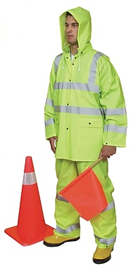 Mutual Industries ANSI Class 3 Three Piece PVC Rain Suit, Lime, Large