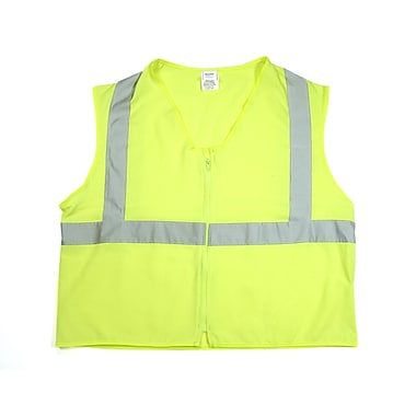 Mutual Industries Gann ANSI Class 2 Solid Durable Flame Retardant Safety Vest, Lime, Medium