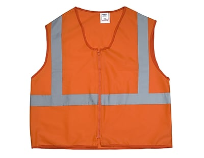 Mutual Industries Gann ANSI Class 2 Solid Durable Flame Retardant Safety Vest, Orange, Medium