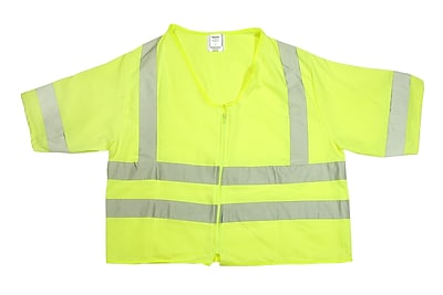 Mutual Industries Gann ANSI Class 3 Solid Durable Flame Retardant Safety Vest, Lime, XL